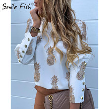 Buttons Puff Sleeve Shirts Letters Pineapple Chain Printed Top Women Autumn Whit