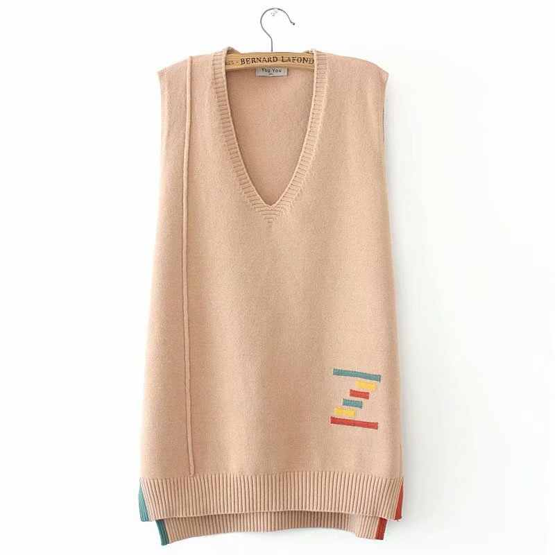 Knitted V neck patchwork women loose Vest sweaters 2020 new