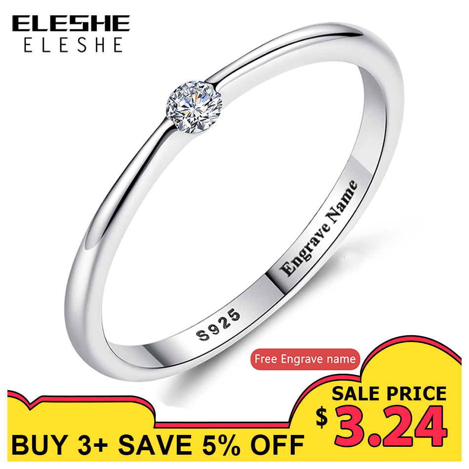 ELESHE Authentic 925 Sterling Silver Rings Round Zirconia Crystal Finger Rings for Women