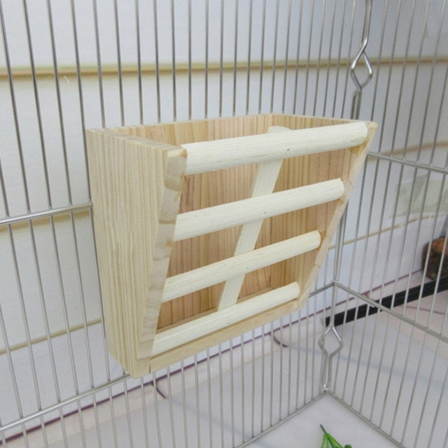 Small Animals Cage Accessories- Rabbit Hay Feeder Rack,Natural Wooden Hay Manger, Hamster Gerbil Rat Lookout Platform Sport Play 4