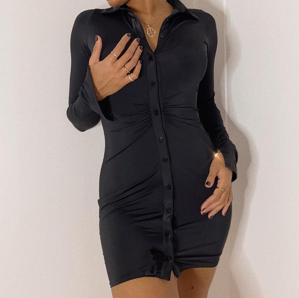 Cryptographic Ruched Black Women's Shirt Dress Fashion Casual Turn-Down Collar Button Up Women's Mini Dresses Bodycon Solid 7