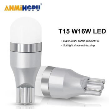 ANMINGPU 2x Signal Lamp Led T15 W16W 5SMD 2835Chips Super Bright W16W Led Bulbs For Reverse Lamps Backup Parking Light White nlpearl 2x signal lamp 12v t15 led canbus bulbs super bright 24smd 3030 chips t15 w16w led auto backup lamp reverse lights white