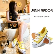 JENN ARDOR Women Low Top Fashion Sneakers Casual Canvas Shoes Mesh Knit Slip On Sneaker Flats Summer Girls Pink Yellow White suede low top slip on sneakers