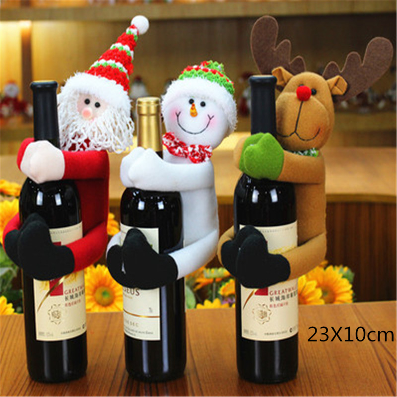 1/2/3/4Pcs Santa Deer Ornament Wine Bottle Cover New Year Gifts Christmas Snowman Wine Bottle Covers Christmas Table Decorations