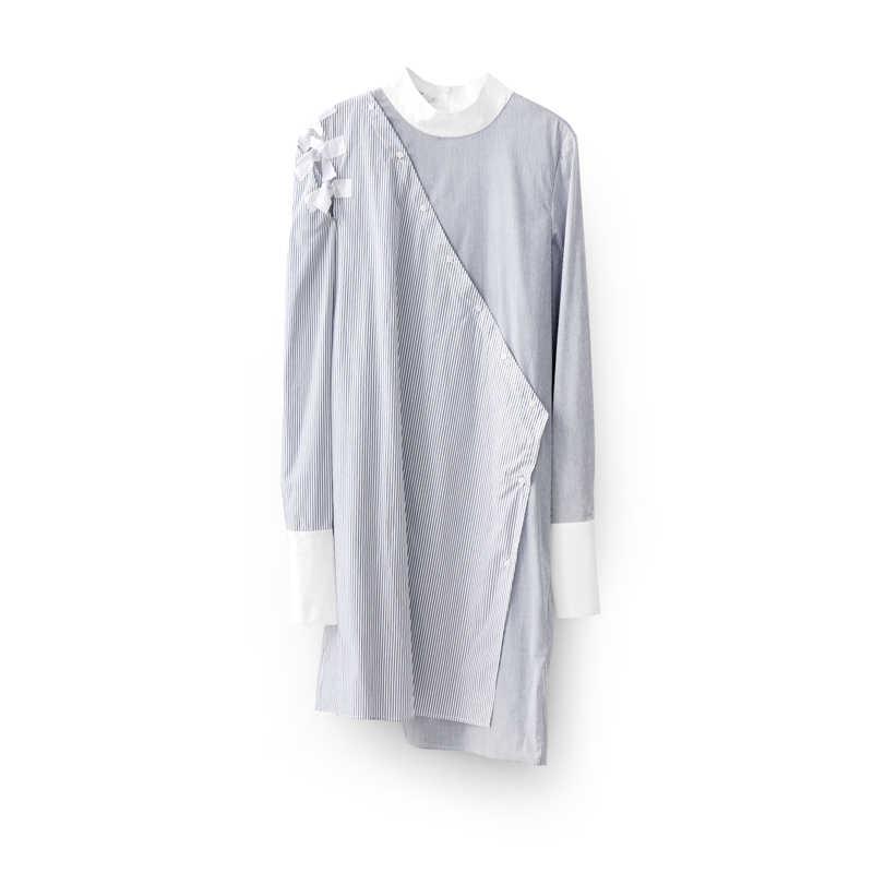 Amii 미니멀리스트 스트라이프 패치 워크 드레스 가을 여성 느슨한 하프 하이 칼라 여성 중반 롱 드레스 11830085