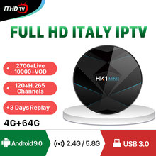 France Italy IPTV Arabic Portugal Turkey ITHDTV HK1 MINI+ Android 9.0 4G+64G BT Dual-Band WIFI 1 Year IP TV