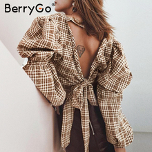 BerryGo Vintage plaid women blouse shirt Sexy backless lace