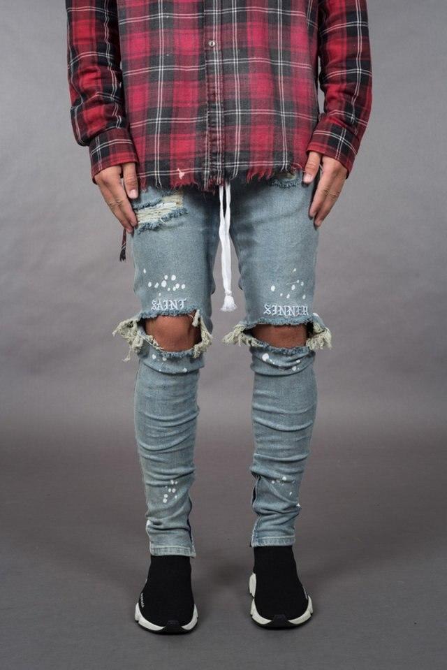 BDLJ мужские стильные рваные джинсы, байкерские обтягивающие прямые потертые джинсовые брюки, модные обтягивающие джинсы, мужская одежда AB03 - Цвет: Light blue