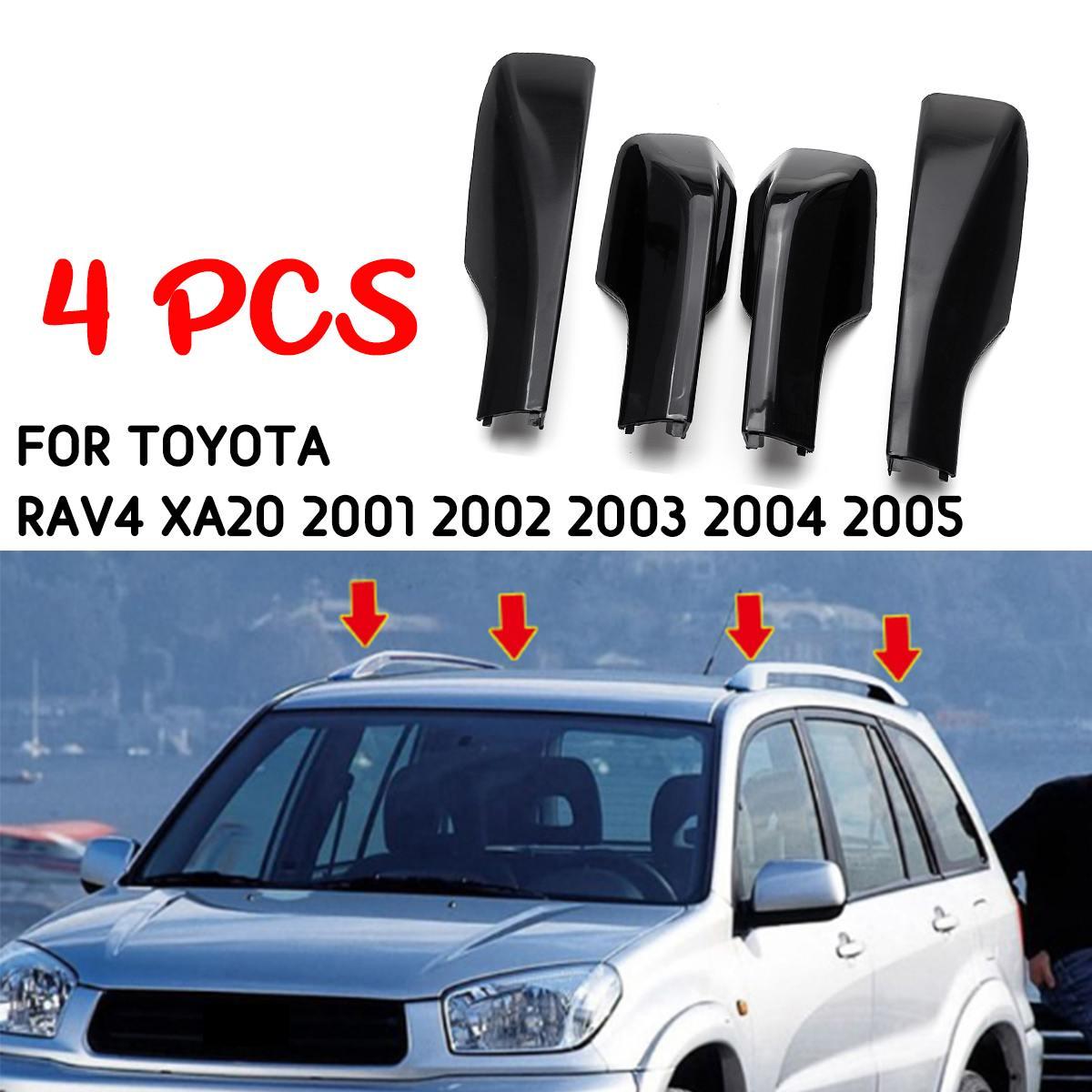 4 Uds reemplazo para Toyota RAV4 XA20 2001 2002 2003 2004 2005 negro para techo de estilo de coche Rack cubierta barra riel extremos accesorios de la cáscara
