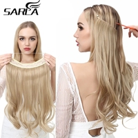 """Halo Hair Extensions No Clip in Ombre Blonde Black Pink Synthetic Natural False Artificial Hair Piece For Women 14"""" 16"""" 18"""" 22"""" 1"""