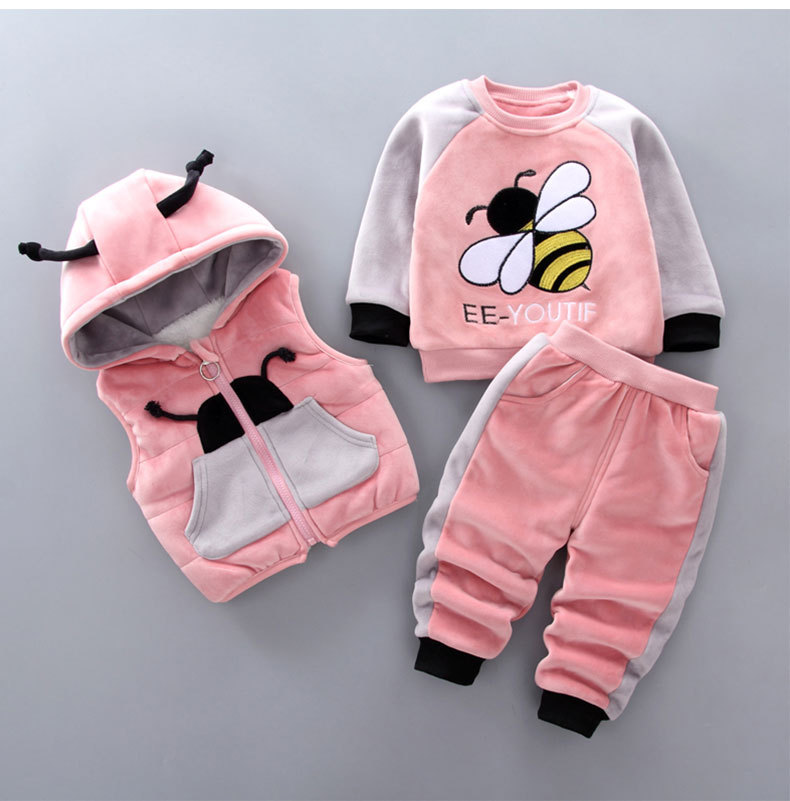Baby boy clothes winter plus velvet thick warm three-piece cartoon bee print sweater hooded baby girl vest vestbaby suit