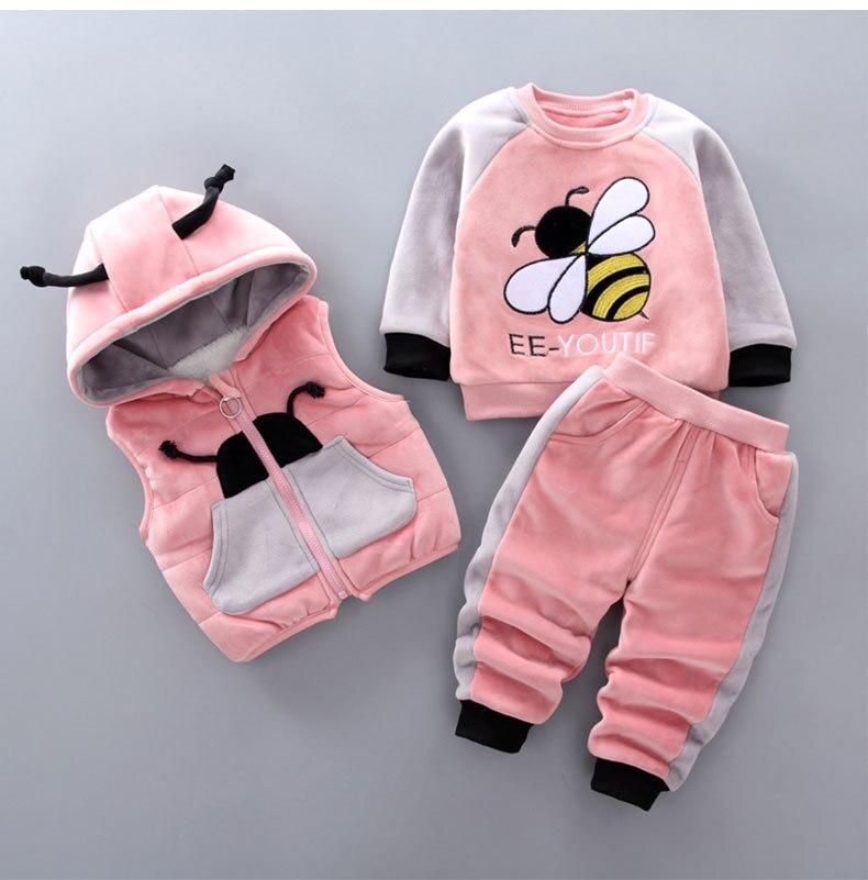 Одежда для маленьких мальчиков зимний плотный теплый вельветовый свитер из трех предметов с принтом пчелы жилет с капюшоном для маленьких девочек костюм для малышей|Комплекты одежды|   | АлиЭкспресс