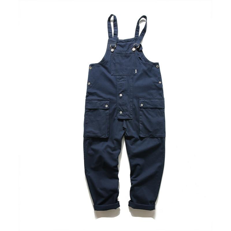 KIOVNO Fashion Men Hip Hop Bib Overalls Multi Pockets Cargo Work Streetwear Jumpsuits For Male Loose Pants (19)