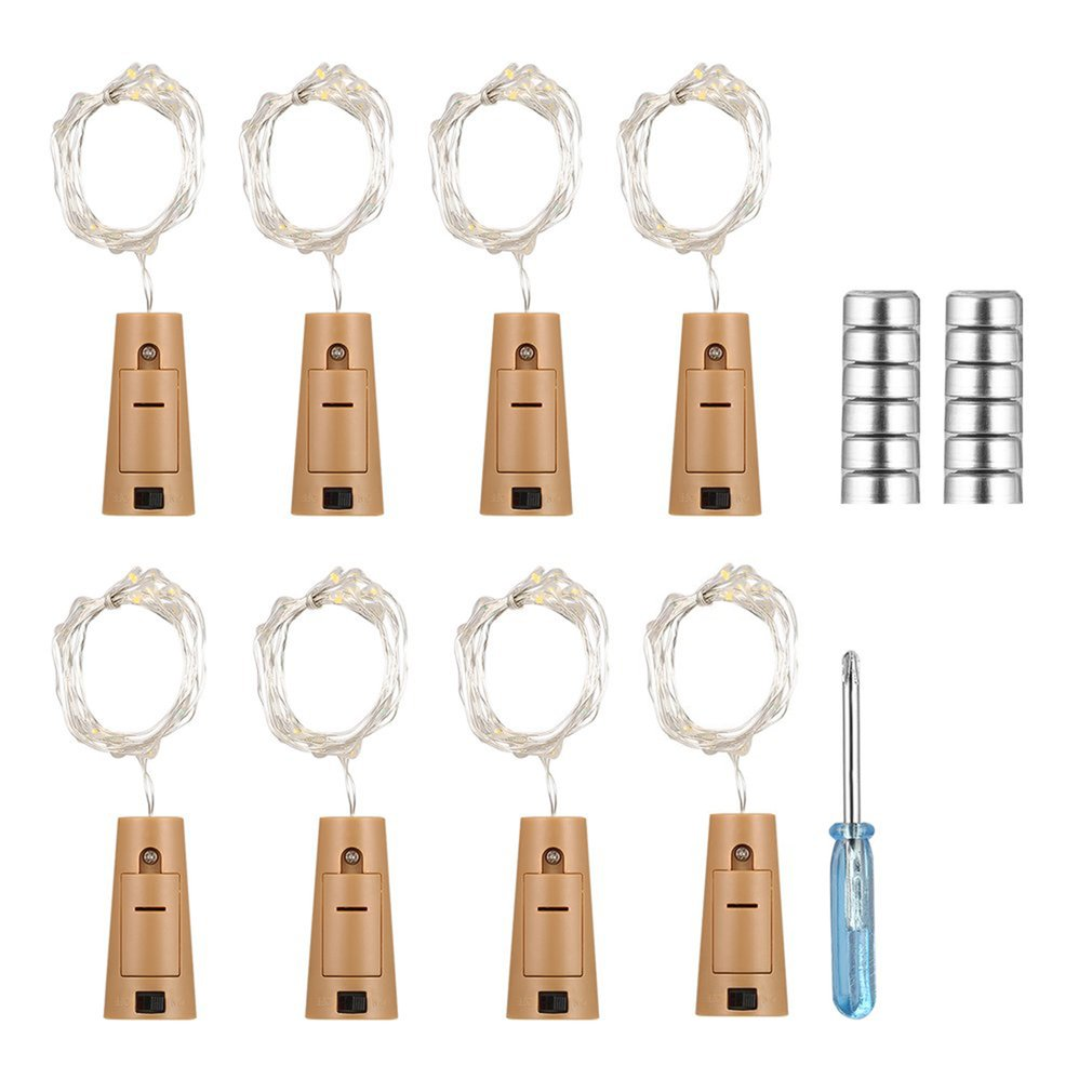 8pcs 15 LEDs String Light Copper Wire Wine Bottles Cork Lights Lamp Battery Powered For Christmas Wedding Party Decoration
