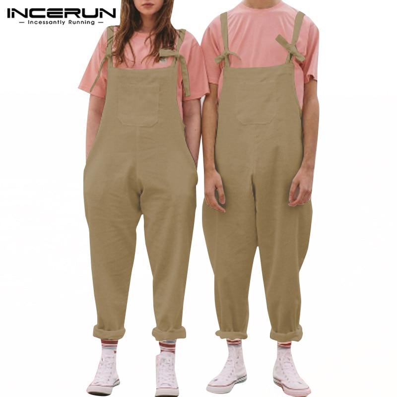 INCERUN Cotton Linen Men Jumpsuit Couple Rompers Straps Suspender Pockets Solid Loose Joggers Pants Overalls S-5XL Streetwear