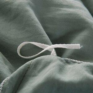 Image 5 - FAMIFUN New Product Solid Color 3/4 Pcs Bedding Set Microfiber Bedclothes Navy Blue Gray Bed Linens Duvet Cover Set Bed Sheet