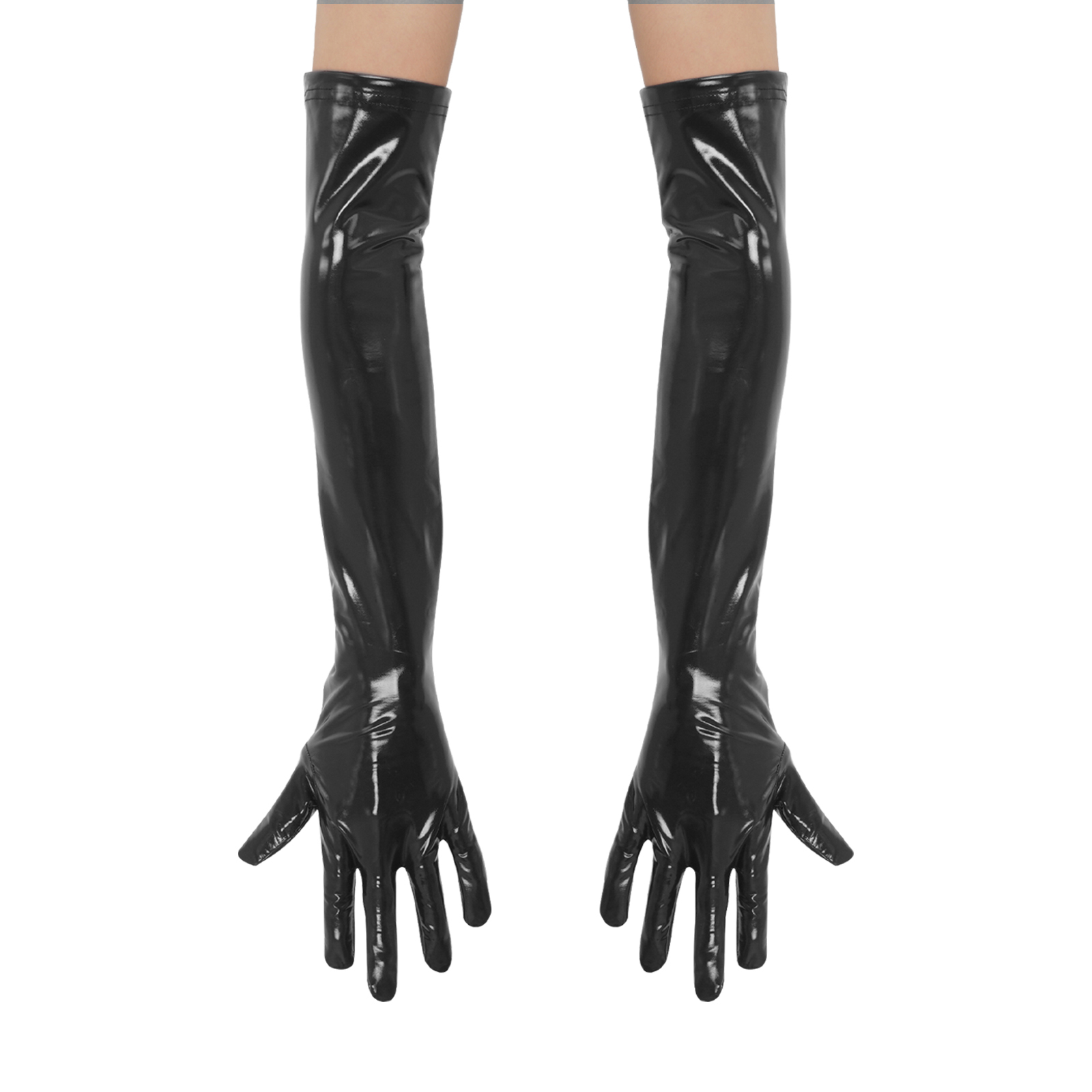 1 Pair Black Gloves for Women Wet Look Shiny Patent Leather Long Gloves Costumes Accessories for Banquet Opera Performance