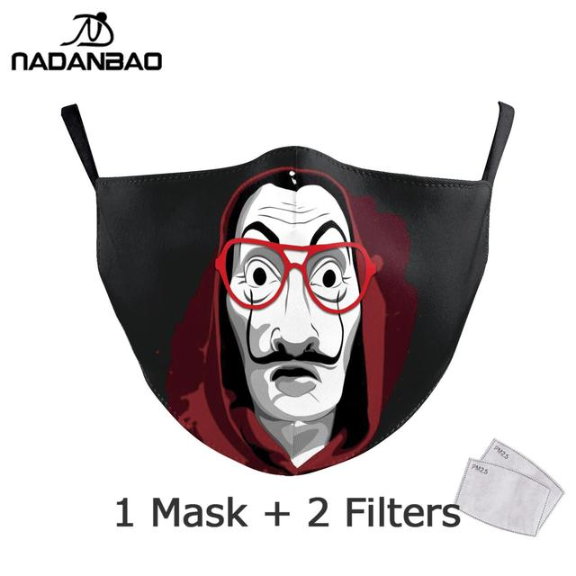 NADANBAO La Casa De Papel Mouth Mask Kid Cosplay Costume Adult Black Face Reusable Mask Print Washable Fabric Masks Cosplay Face 1