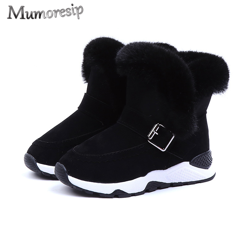 Unisex Kids Boots For Boys Girls Children Furry Boots Warm Cotton Plush Snow Boots Soft Fashion Rubber Boots 2019 Winter New Hot