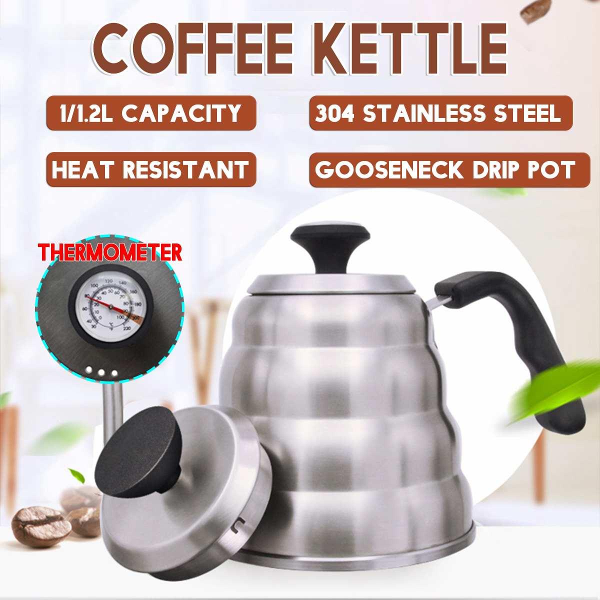 1,2 л кофейник из нержавеющей стали с термометром, чайник с длинным носиком, гусиная шея, капельный чайник, термо-чайник, заварочный чайник