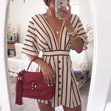 20119 Women's Vacation Bohemian Beach Striped Button Dress Sexy Deep V Neck Loos