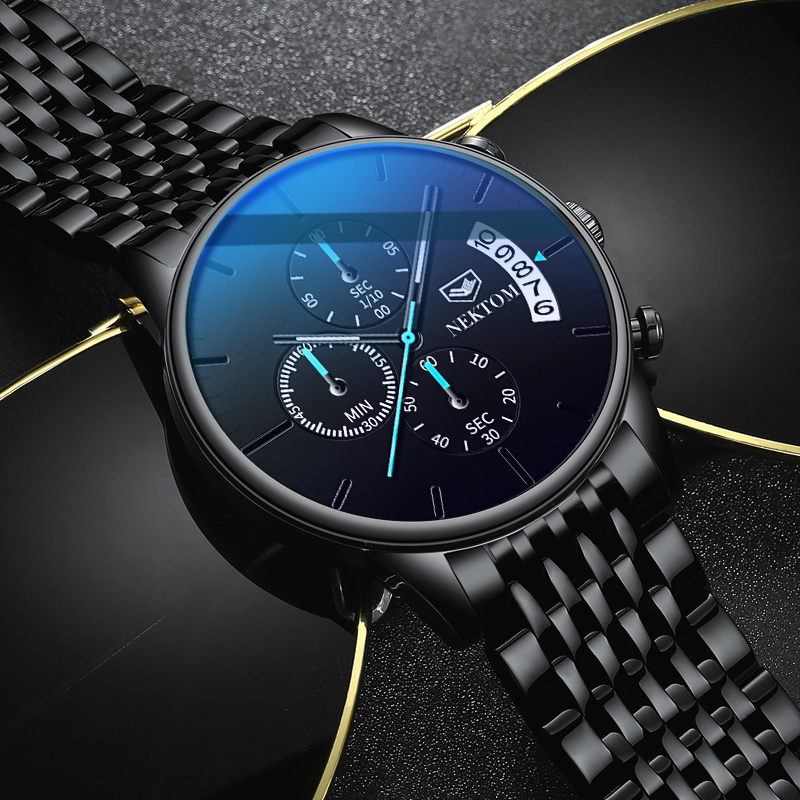 NEKTOM Men Watch Chronograph Sport Mens Watches Top Brand Luxury Waterproof Luminous Steel Quartz Clock Men Relogio Masculino