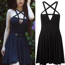 Темный Стиль Готичный Черный Модный Платье Крест Накрест Полый