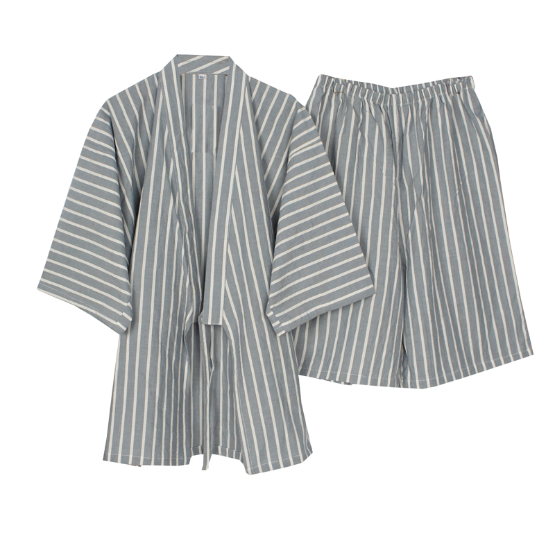 Men's kimono pajamas stripe Cotton Comfortable crepe casual pajama Set