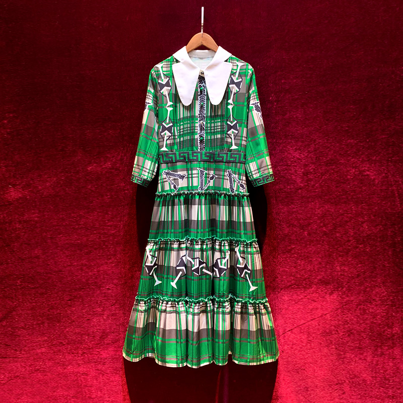 New French-style retro doll dress in early autumn of 2019 with slim and age-reducing Green Plaid print