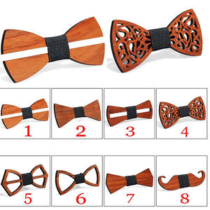 Fashion Wooden Bow Tie For Men Unisex Hollow Out Carved Retro Wooden Neck Ties Adjustable