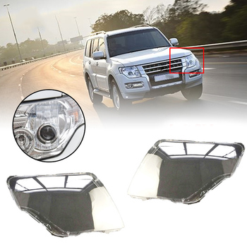 Car Front head light lamp Cover for Mitsubishi Pajero V97 Headlight head light lamp Waterproof Clear Lens Auto Shell Cover Left&