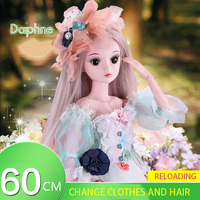 60cm Demi Doll Bjd Doll 1/3 Minifee Dress Up Wedding Princess Doll Set Gift Box Joint Doll Girl Birthday Present