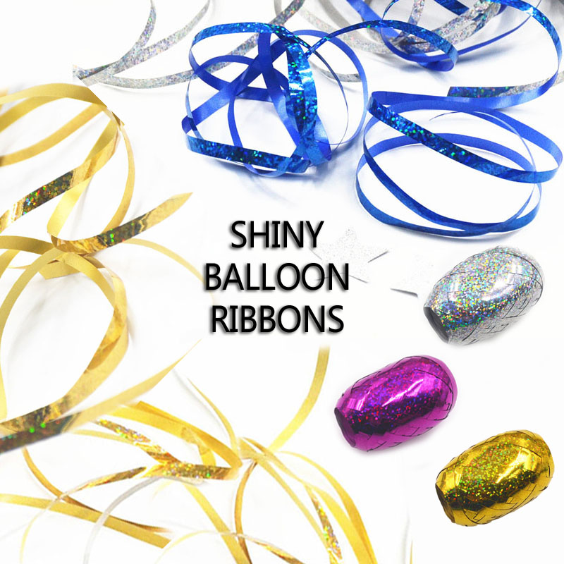 6pcs 5mm*5M Balloons Ribbons Laser Ribbon Wedding Birthday Party Decoration DIY Accessories Valentine Day Decoracion Baby Shower