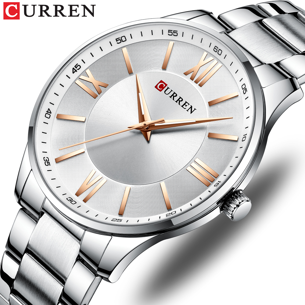 CURREN Watch Women And Men Watch Top Brand Luxury Waterproof Unisex Ultra Thin Clock Male Steel Strap Casual Quartz Watch Men(China)
