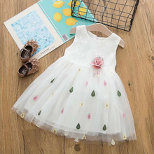 Fashion Girls Summer Dresses Sleeveless Appliques Floral Printed Vestidos Cotton Kids For Tutu Dress 40
