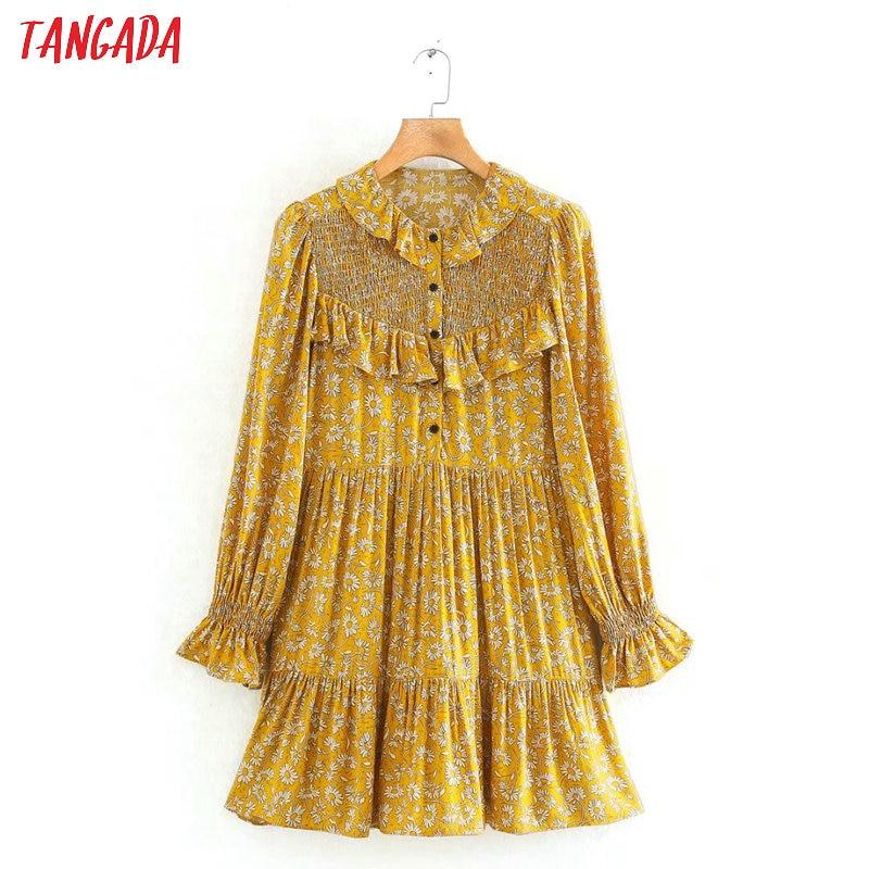 Tangada 2020 Fashion Women Floral Printed Vintage Dress Ruffles Long Sleeve Ladies French Style Yellow Mini Dress Vestidos 5Z14