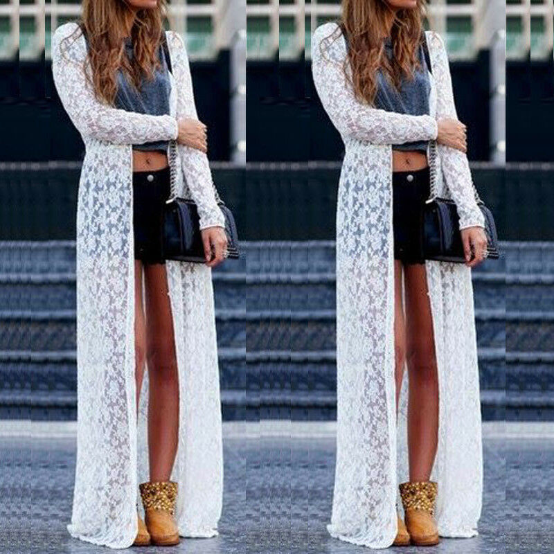 NEW Women Lace Kimono Beach Cardigan Bikini Cover Up Wrap Beachwear Long Dress Lace Crochet Bikini Cover Up Bathing Suit