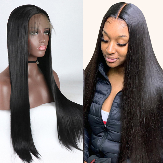 $ US $31.86 Black Color Synthetic Lace Front Wig Heat Resistant Silky Straight Half Hand Tied Front Wigs With Baby Hair