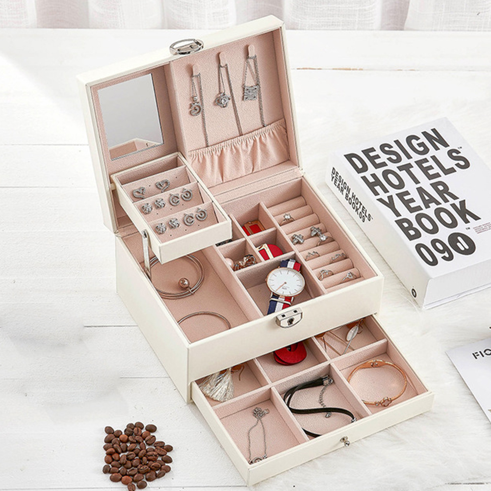 Stud Simple Solid Jewelry Box Organizer Earrings Necklaces Portable Travel Gift Multi Layer Rings Makeup Organizer With Key