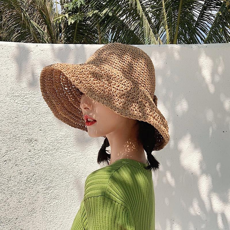 Straw hat female solid color summer foldable fisherman hat sun hat sunscreen beach sun hat
