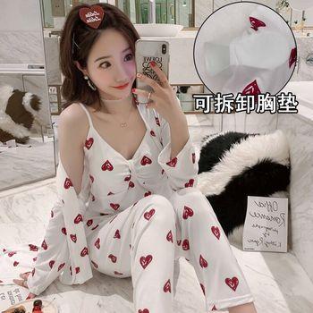 3Pcs/Set Women Silk Pajama Satin ladies Pajamas Sets Long Sleeves Turn-down Collar Pocket Decor with Button  Women Silk Pajamas burgundy stand collar long sleeves top with button details