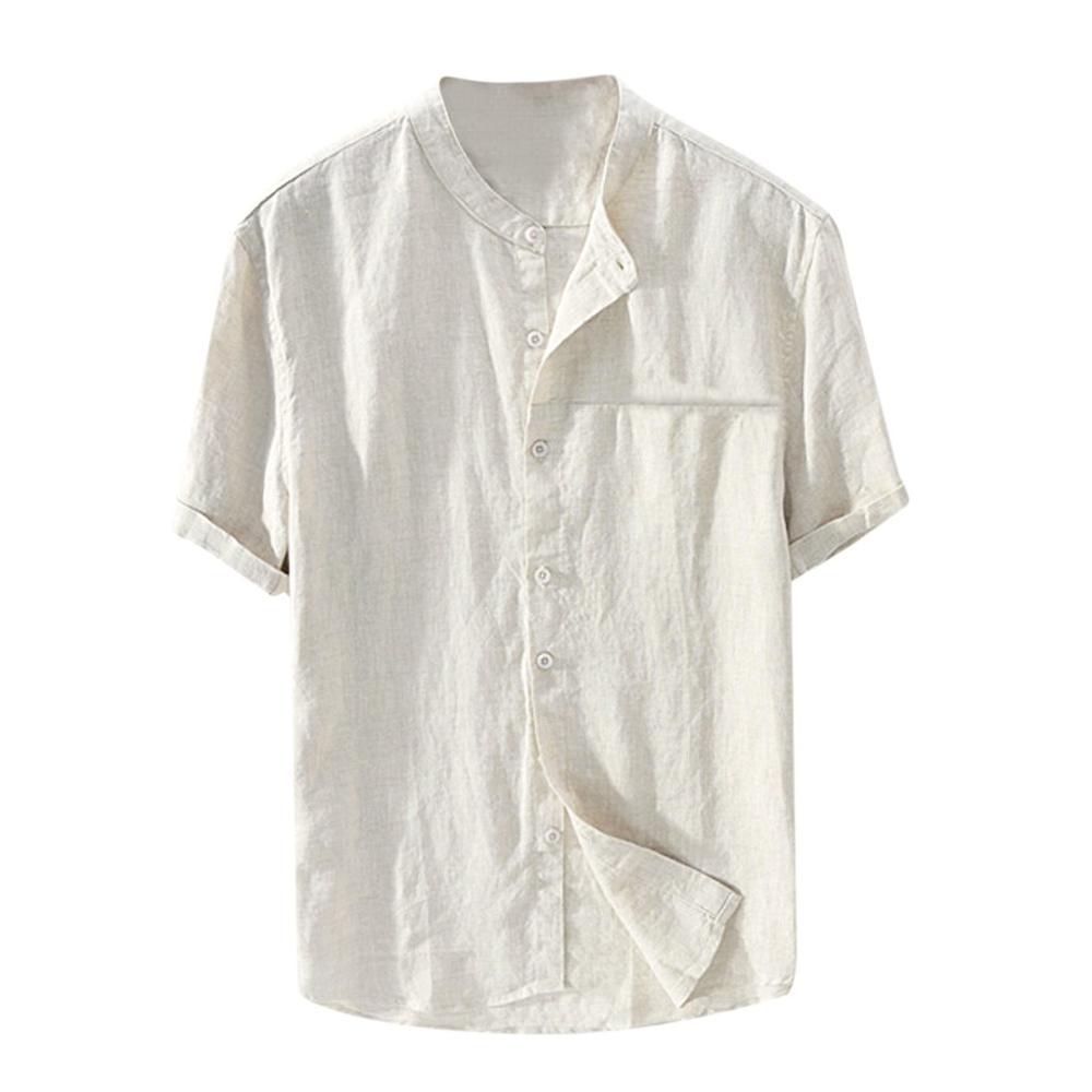 2020 Men's Loose Cotton Solid Color Short Sleeve Retro Shirt Top Shirt Slim Men's Wear