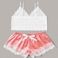 Popular Sexy Watermelon Red Lace Top Satin Shortssexy Temptation Lingerie Set Ladies Bra Panty Sexy Underwear 5Set