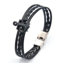 Junwei Мужские Кожаные плетеные браслеты черная якорная цепочка