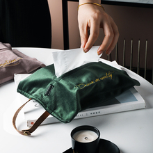 Ins Style Velvet Paper Facial Tissue Box Cover Holder with Strap For Bathroom Bedroom Car Vanity Countertops Desks