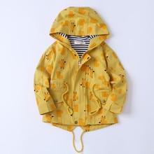 春秋のフード付き綿子コートプリント赤ちゃん子供上着ジッパー大ポケット90の高さ 135センチメートル