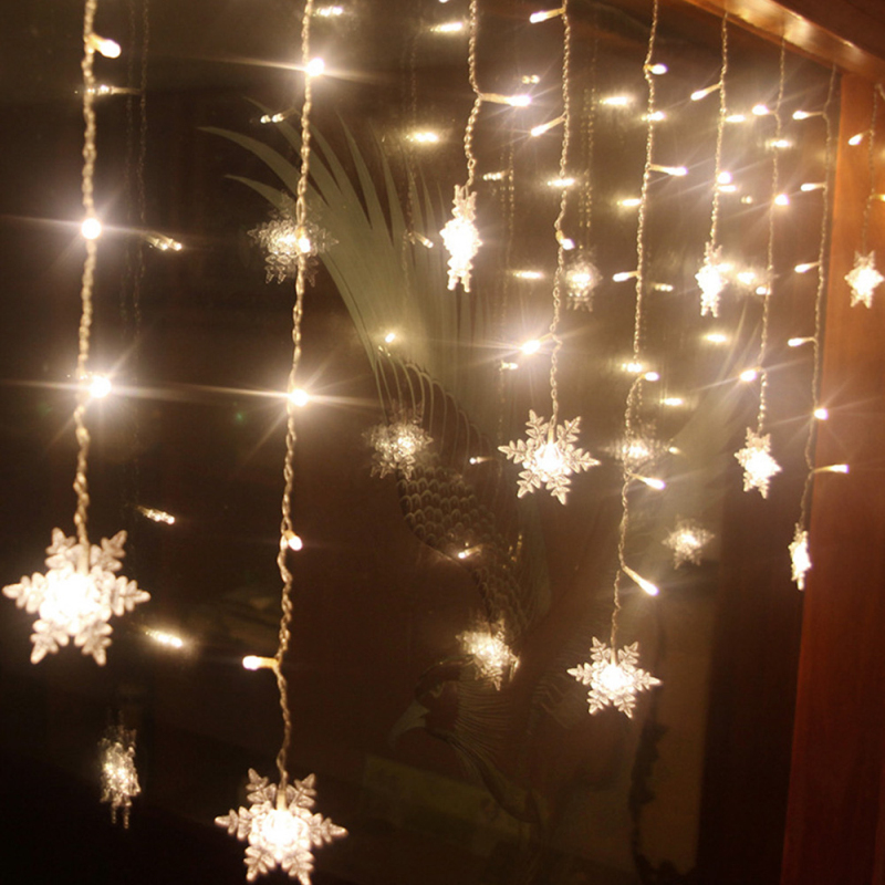 8 Mode 4 Meter 96 Led Snowflake Icicle Light Strings Christmas Home Curtain Light Garden Stage Decorative Lights