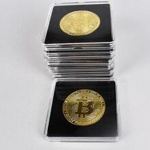 40 мм Золотая монета-Биткоин с акриловой квадратная коробка Litecoin Eth XRP криптовалюта металлическая монета