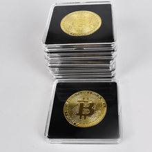 40mm ouro bitcoin moeda com acrílico caso quadrado litecoin eth xrp doge moeda de criptomoeda metal
