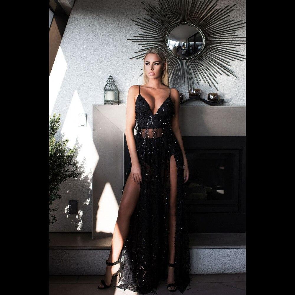 Femmes Sexy dos nu noir robe à paillettes fendue longue robe serpentins longue robe à bretelles Spaghetti